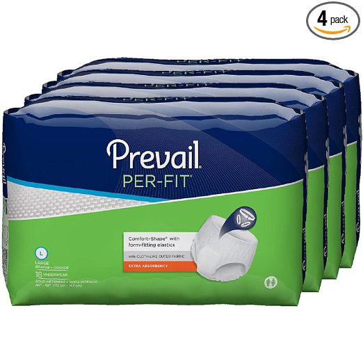 Prevail Per-Fit Extra Absorbency Incontinence Underwear, Large, 4 Bags of 18 (72 count)