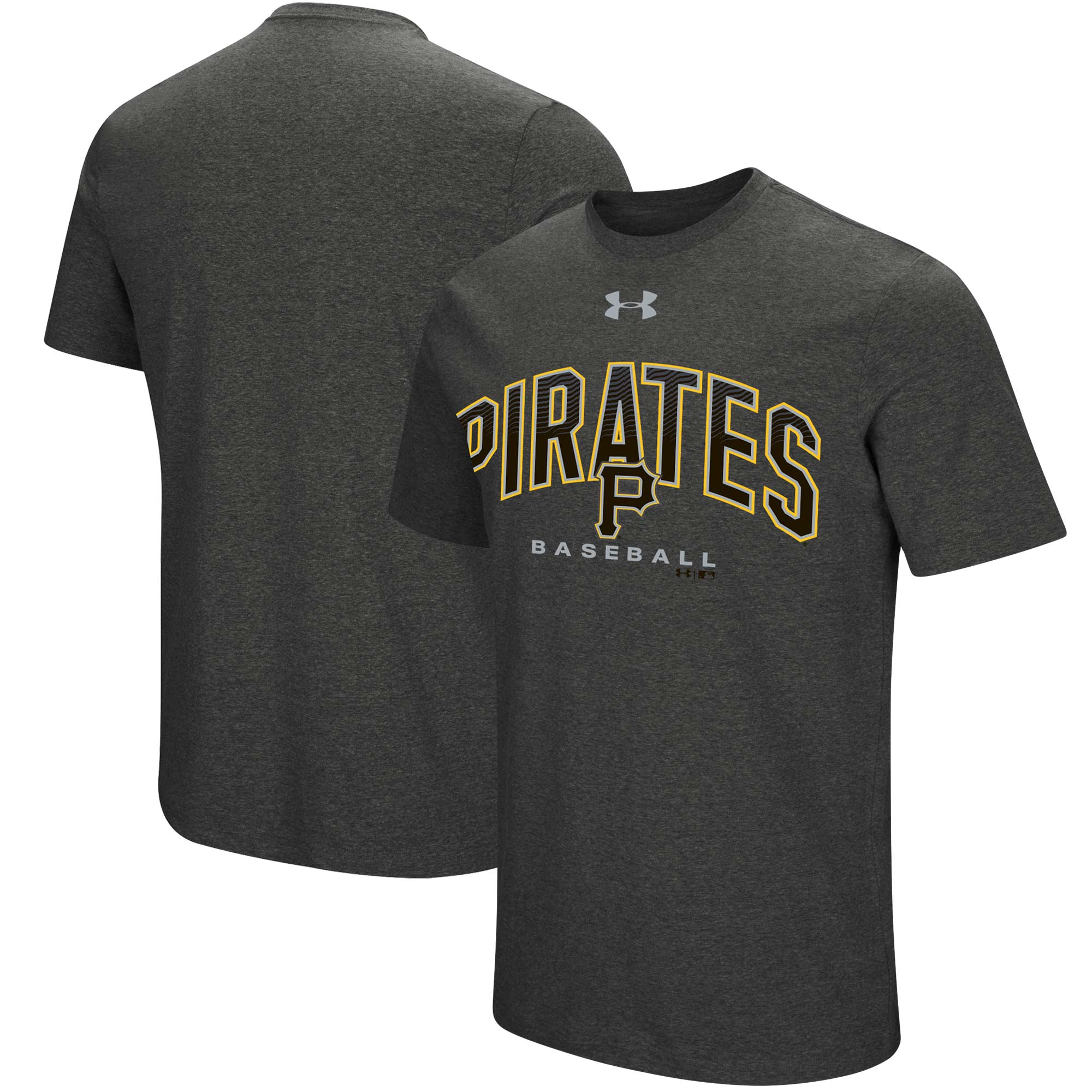 Pittsburgh Pirates Under Armour Passion Reflective Arch Performance Tri-Blend T-Shirt - Heathered Charcoal