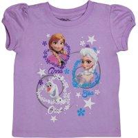 Frozen Elsa & Anna Little Girls' Lilac Short Sleeve Shirt