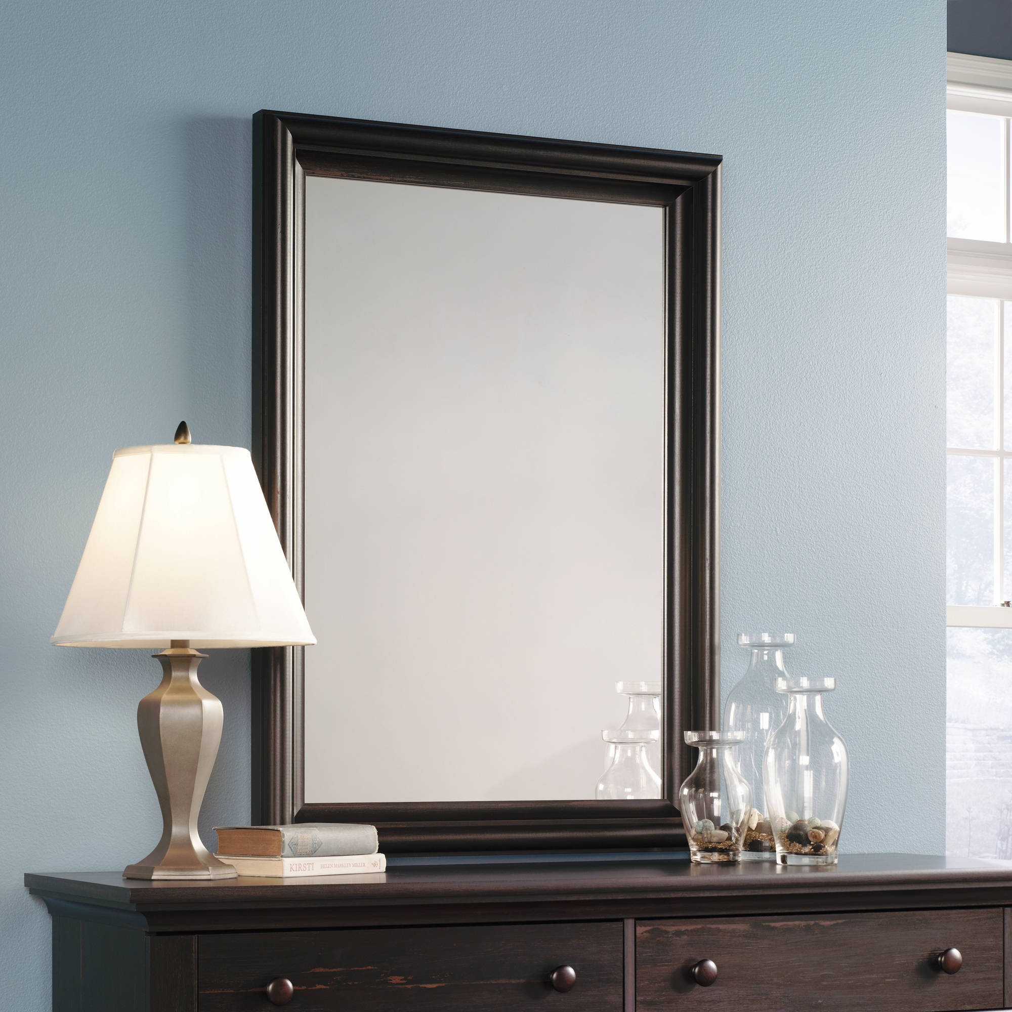 Sauder Harbor View Mirror, Antiqued Paint Finish
