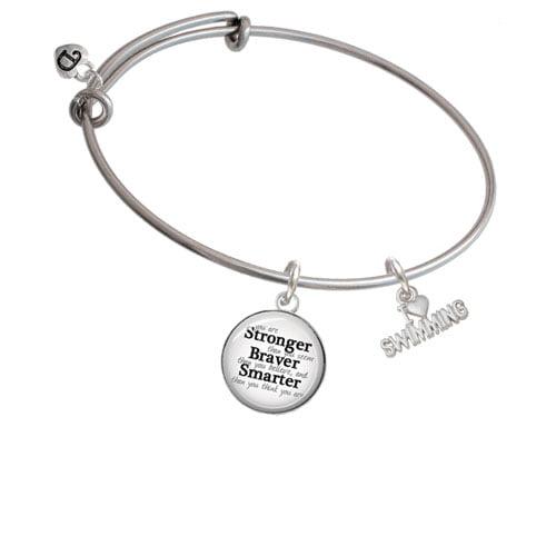 I Heart Swimming Stronger Braver Smarter Bangle Bracelet by Delight and Co.