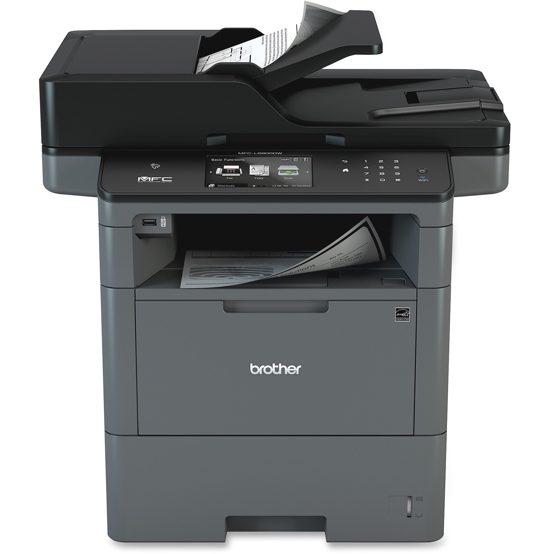 Brother MFC-L6800DW Wireless Monochrome All-in-One Laser Printer, Copy/Fax/Print/Scan