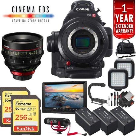 Canon EOS C100 Mark II Cinema Camera (International Model) No Warranty Body  Only + 128GB Extreme SD Card Base Kit (w/35mm Lens, Advanced)