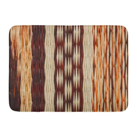 LADDKE Brown Bamboo Woven Reed Abstract Pattern Straw Basketry Craft Doormat Floor Rug Bath Mat 23.6x15.7 inch