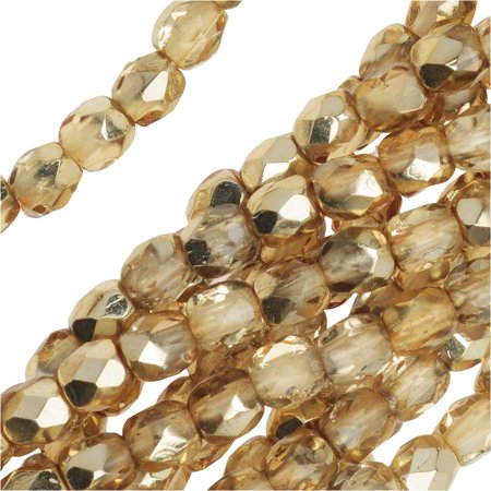 - Czech Fire Polished Glass Beads 3mm Round Crystal Gold (50)