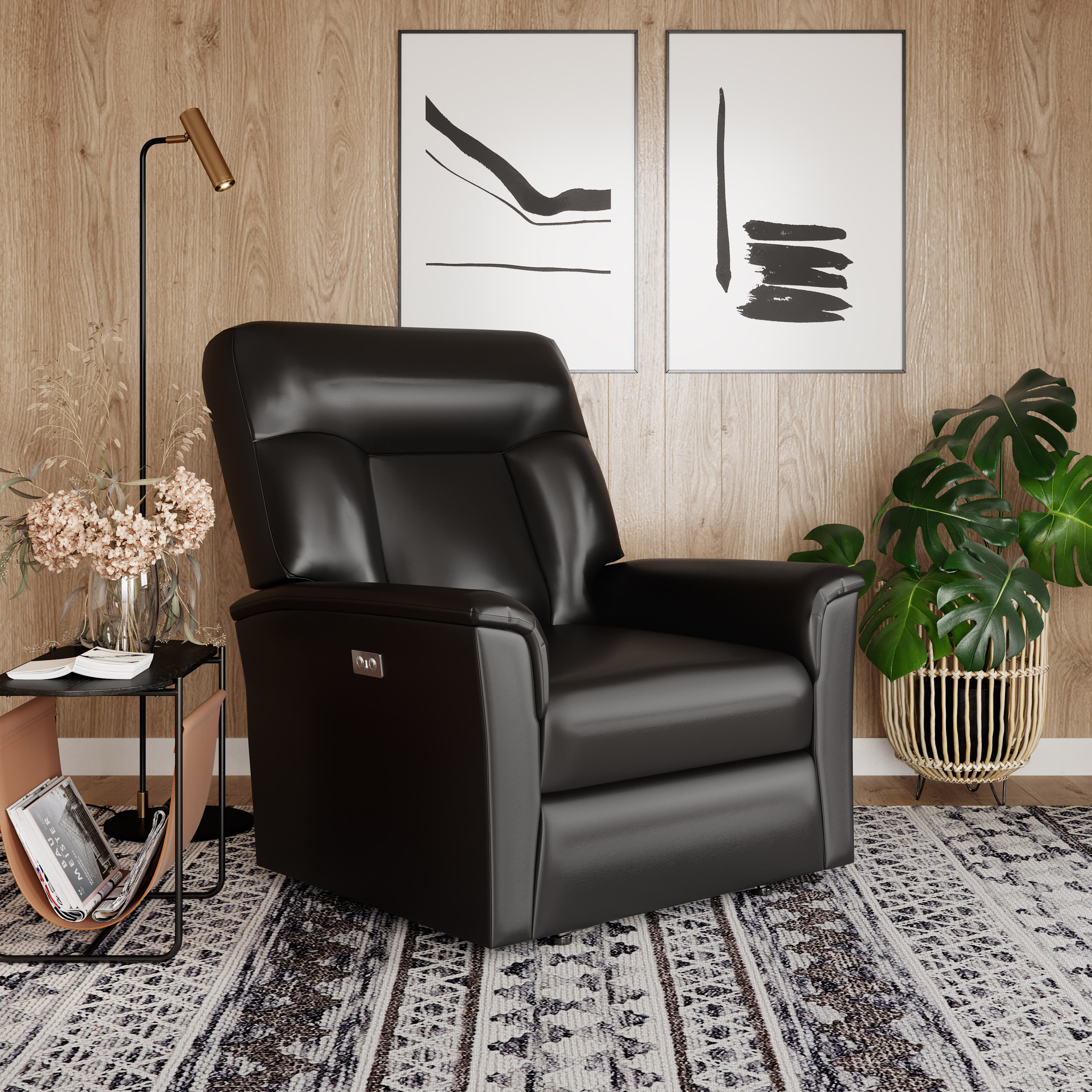 Lifestyle Solutions Relax A Lounger Nicolas Power Large Recliner, Faux Leather, Black