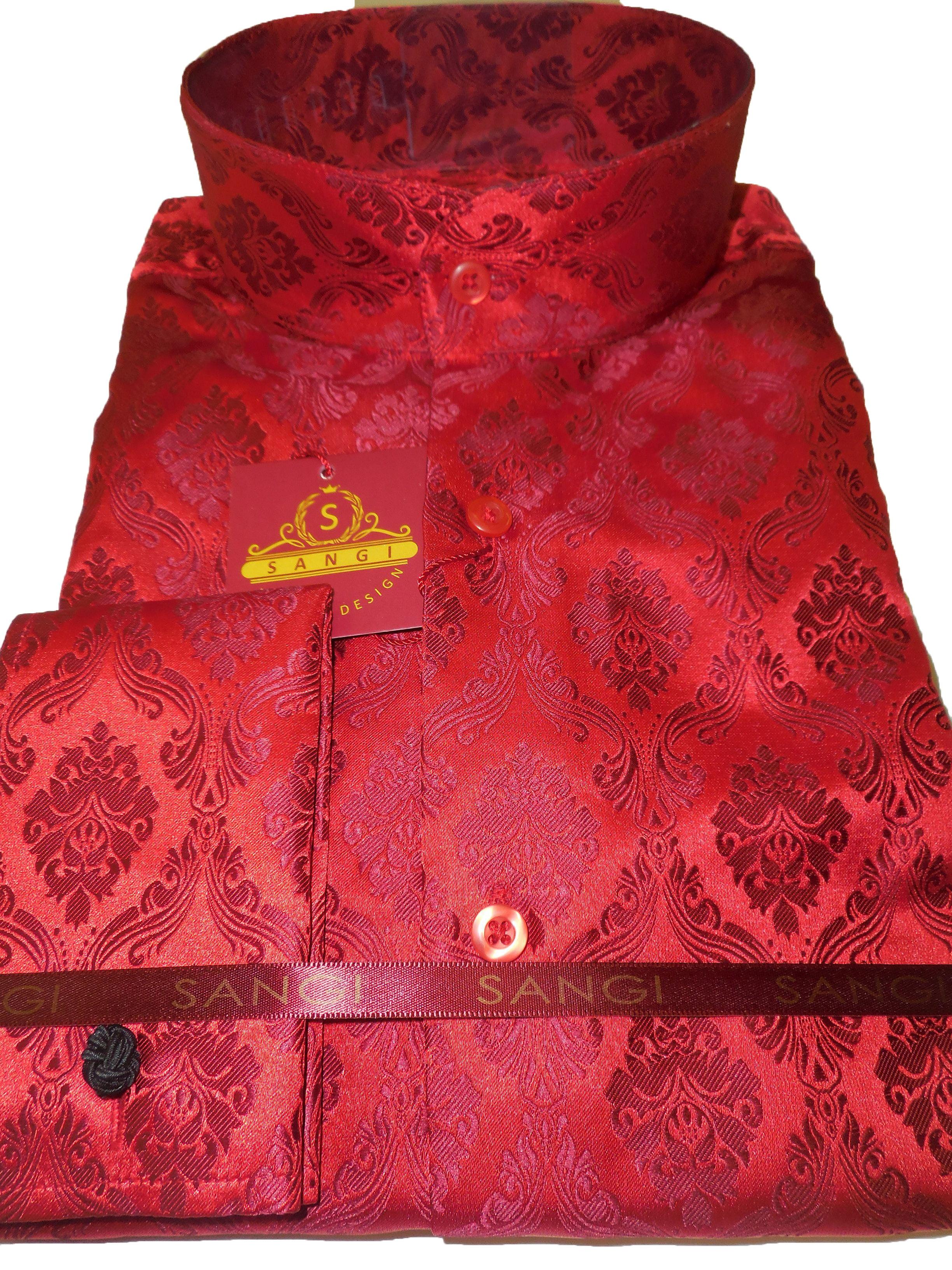 Sangi Mens Red Shimmery Damask High Nehru Collar Collarless Shirt