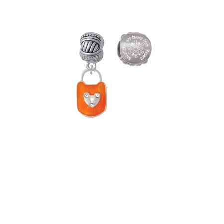 Hot Orange Enamel Lock with Clear Crystals Snowflakes are Kisses from Heaven Charm Beads (Set of