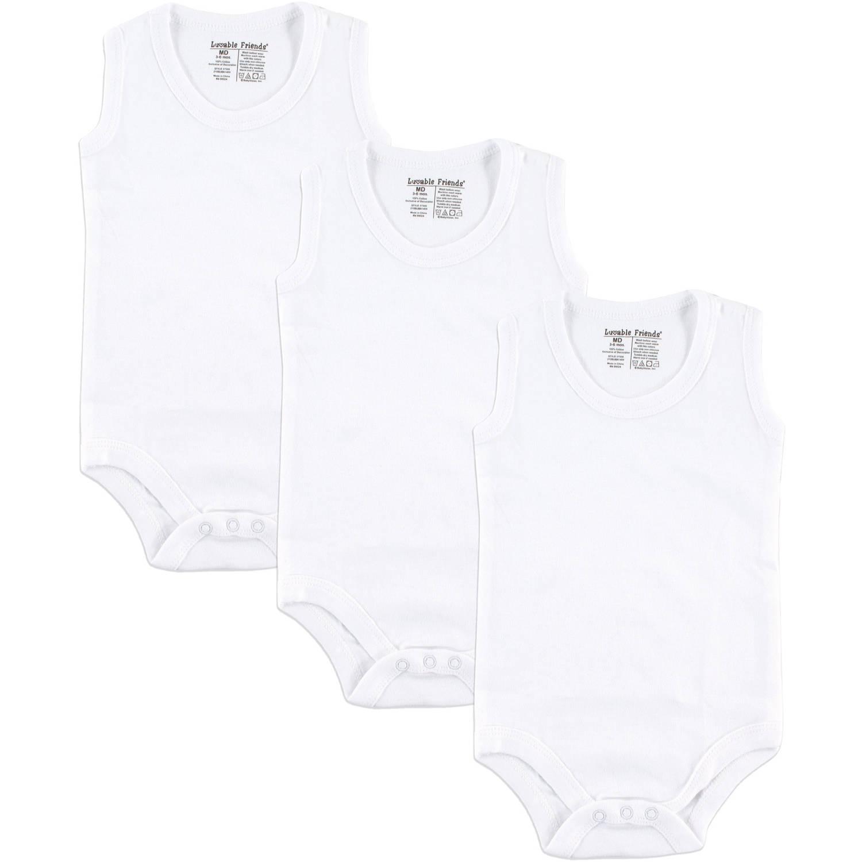 Baby Unisex Sleeveless Bodysuits White, 3-Pack