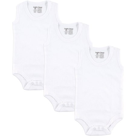 Baby Unisex Sleeveless Bodysuits White, 3-Pack