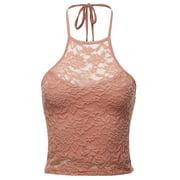 FashionOutfit Women's Trendy Halter Neck Crochet Crop Top