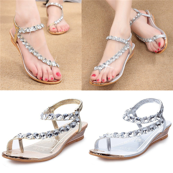 Women Diamante Rhinestone Sandal Flip Flops Wedding Party Shoes Low Heel Casual