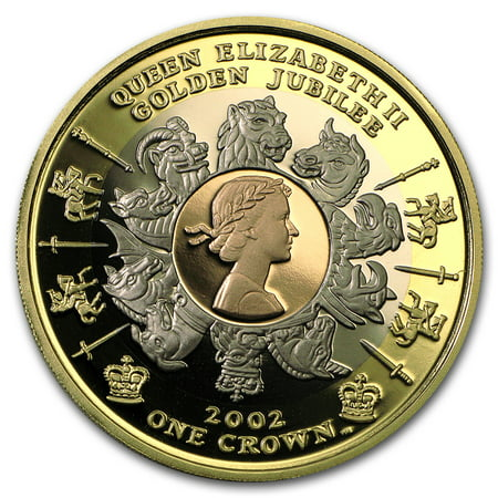 2002 Isle Of Man 1 Oz Proof Gold Crown Golden Jubilee Tri