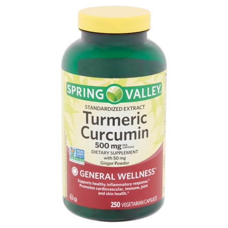 (Spring Valley Standardized Extract Turmeric Curcumin Vegetarian Capsules, 500 mg, 250 count)