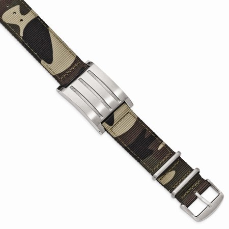 Fabric Jewelry - Roy Rose Jewelry Stainless Steel Brushed and Polished Camo Fabric Adjustable ID Bracelet