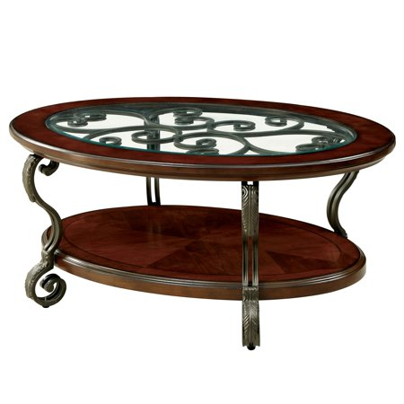 - Furniture of America Cohler Traditional Brown Cherry Oval Coffee Table by FOA