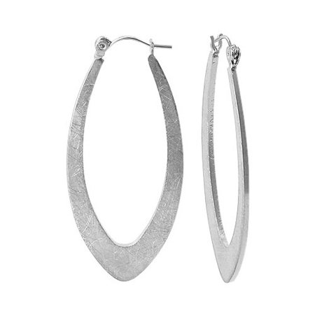 Gem Avenue Silver Tone Scratch Style Hoop Earrings