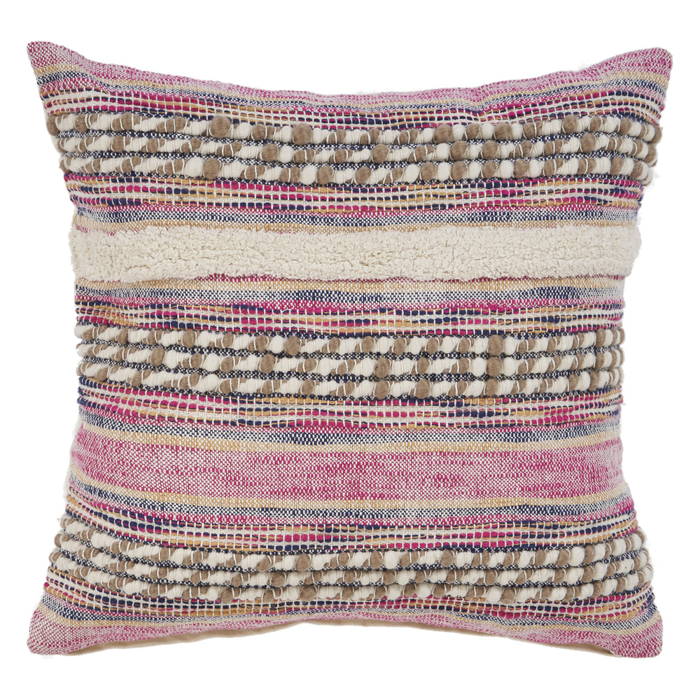 "LR Home Striped Checks Tribal Pink Natural Throw Pillow ( 18"" x 18"" )"