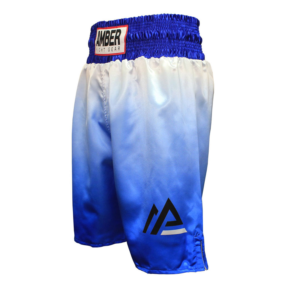 Amber Fight Gear Dynamic Pro Style Boxing Kickboxing Muay Thai MMA Training Gym Clothing Shorts Trunks Blue White Small