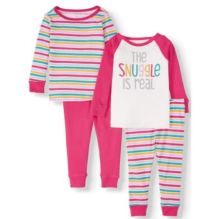 Halloween Pajamas For Baby Girl (Wonder Nation Baby Girl Long Sleeve Cotton Snug Fit Pajamas, 4pc)