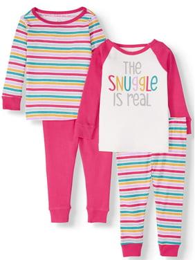 Wonder Nation Baby Girl Long Sleeve Cotton Snug Fit Pajamas, 4pc set