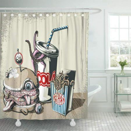 Zombie Halloween Food Ideas (KSADK Zombie Hell's Breakfast Food Burger Hell Halloween Diner Fast Meal Shower Curtain 66x72)