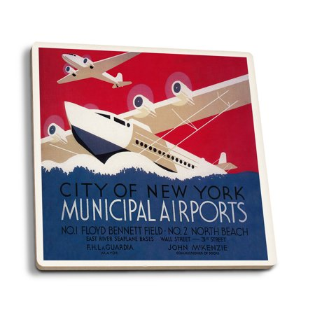 New Municipal Airport (New York City Municipal Airport - Vintage Travel Poster (Set of 4 Ceramic Coasters - Cork-backed, Absorbent))