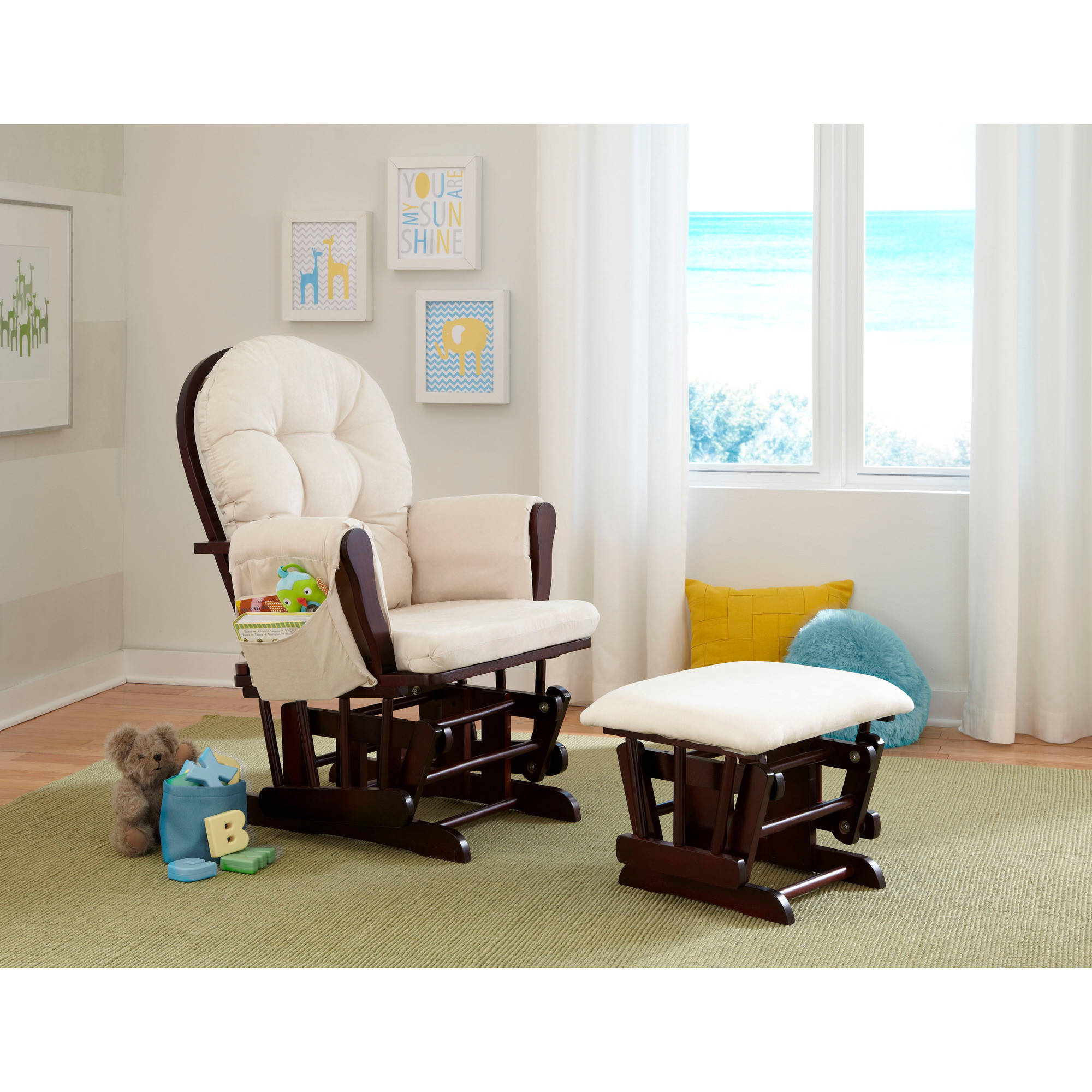 StorkCraft Malibu Glider and Ottoman Set, Dark Brown