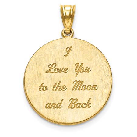 Gold Plated/ss Love You To The Moon Brushed Pendant Charm Necklace Saying Phrase Disc I Back Fashion Jewelry For Women Gift Set - Halloween Invitation Sayings And Phrases