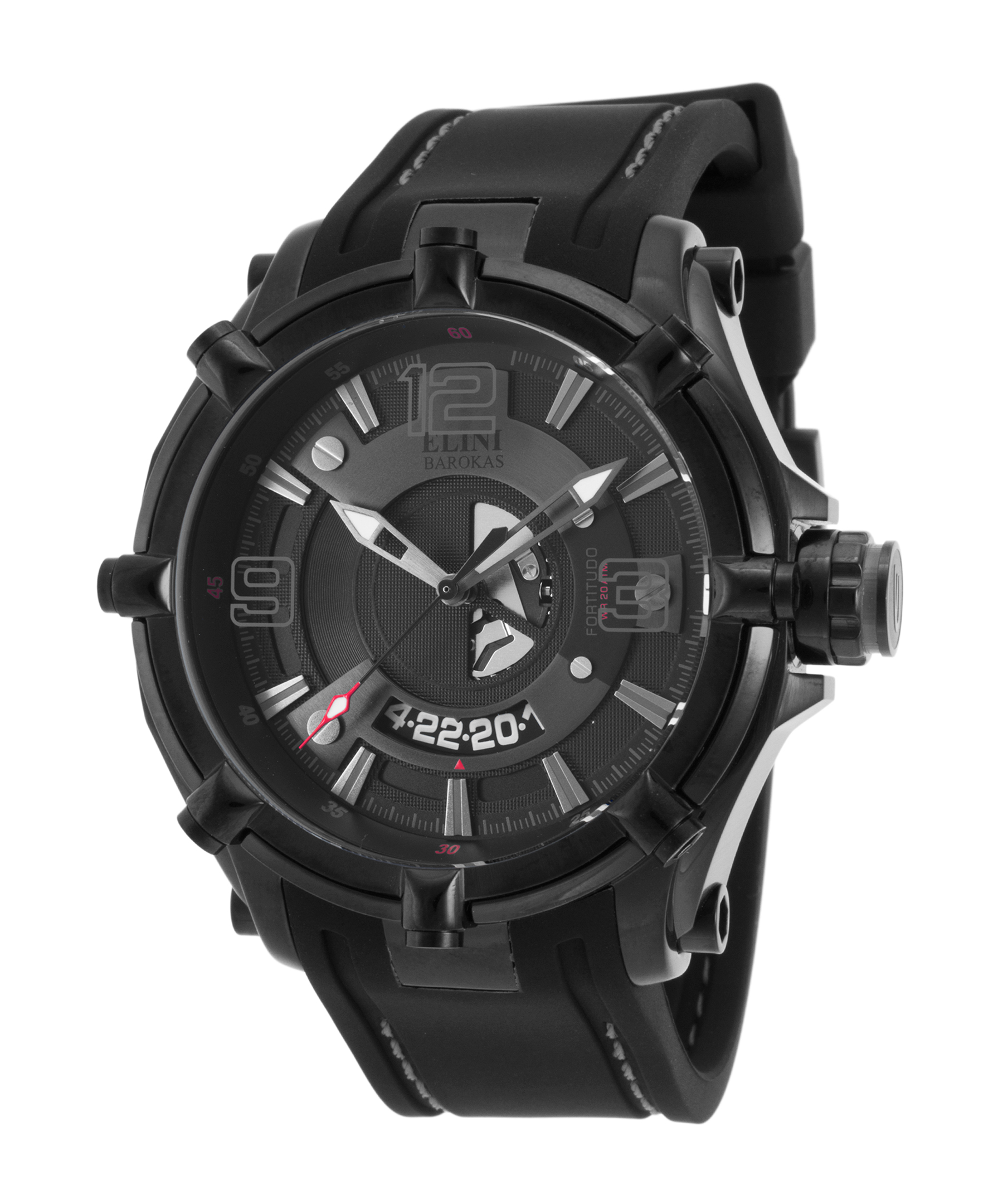 Elini Barokas 20000-Bb-01-Grya Fortitudo Duo Black Silicone Dark Grey And Black Dial Watch