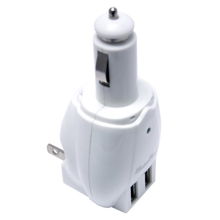 Maximal 2 Port In1 Usb Dc Cigarette Car Charger Home Wall Ac Adapter Plug Combo White