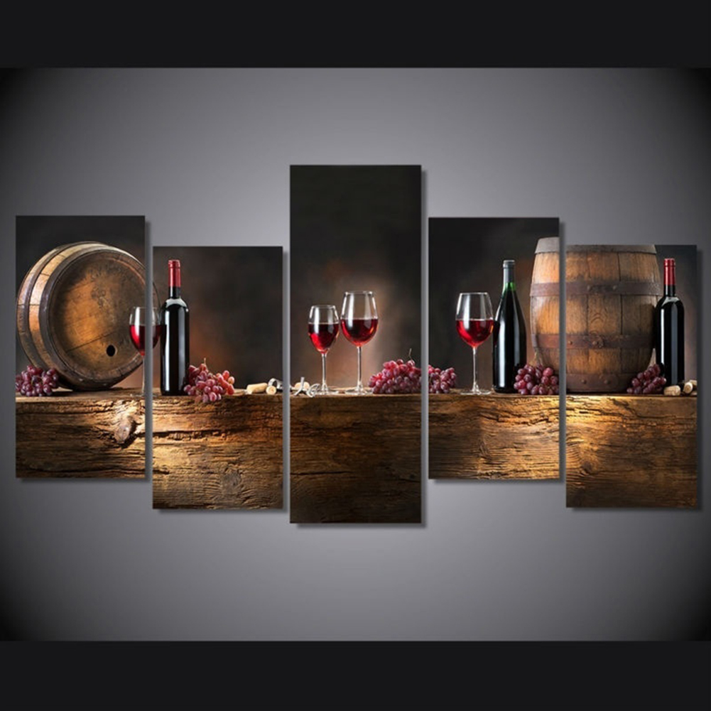 Girl12Queen 5 Pcs/Set Red Wine Cup Oil Painting Canvas Art Wall Room Decor  Unframed