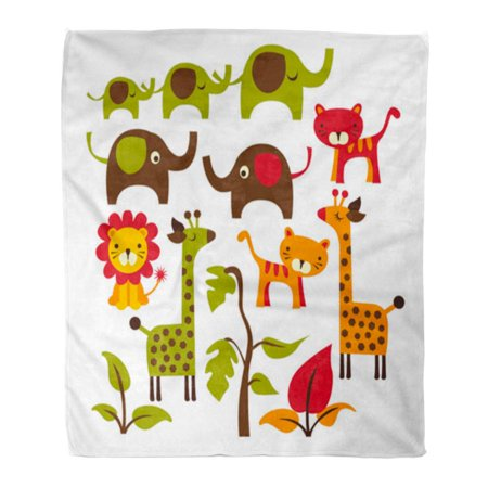 LADDKE Throw Blanket Warm Cozy Print Flannel Cartoon Cute Jungle Elephants Giraffes Tigers and Lion Wild Comfortable Soft for Bed Sofa and Couch 50x60 Inches