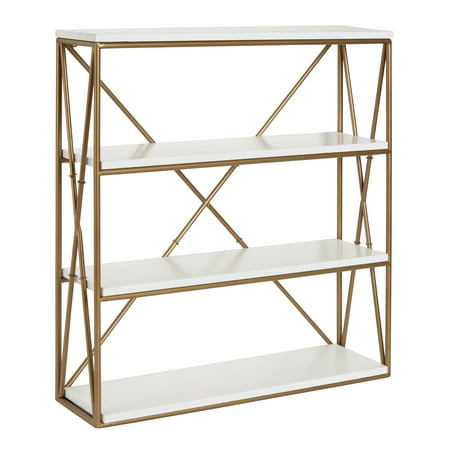Kate and Laurel - Ascencio 4-Layer Modern Luxe Wooden Wall Shelves with Matte Gold Metal Frame and High-Shine White Display Boards, 24.25-inches high x 22-inches wide x 6-inches deep