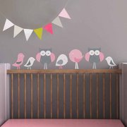 Birds and Owls Fabric Wall Decals