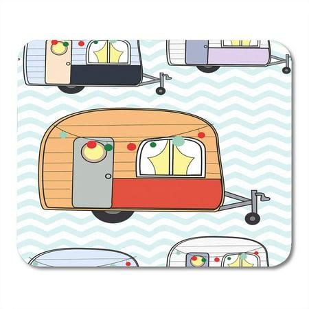 Touring Van - SIDONKU Colorful Happy Cute Adorable Caravan Camper Van Pastel Doodle Cartoon Comic Touring Mousepad Mouse Pad Mouse Mat 9x10 inch