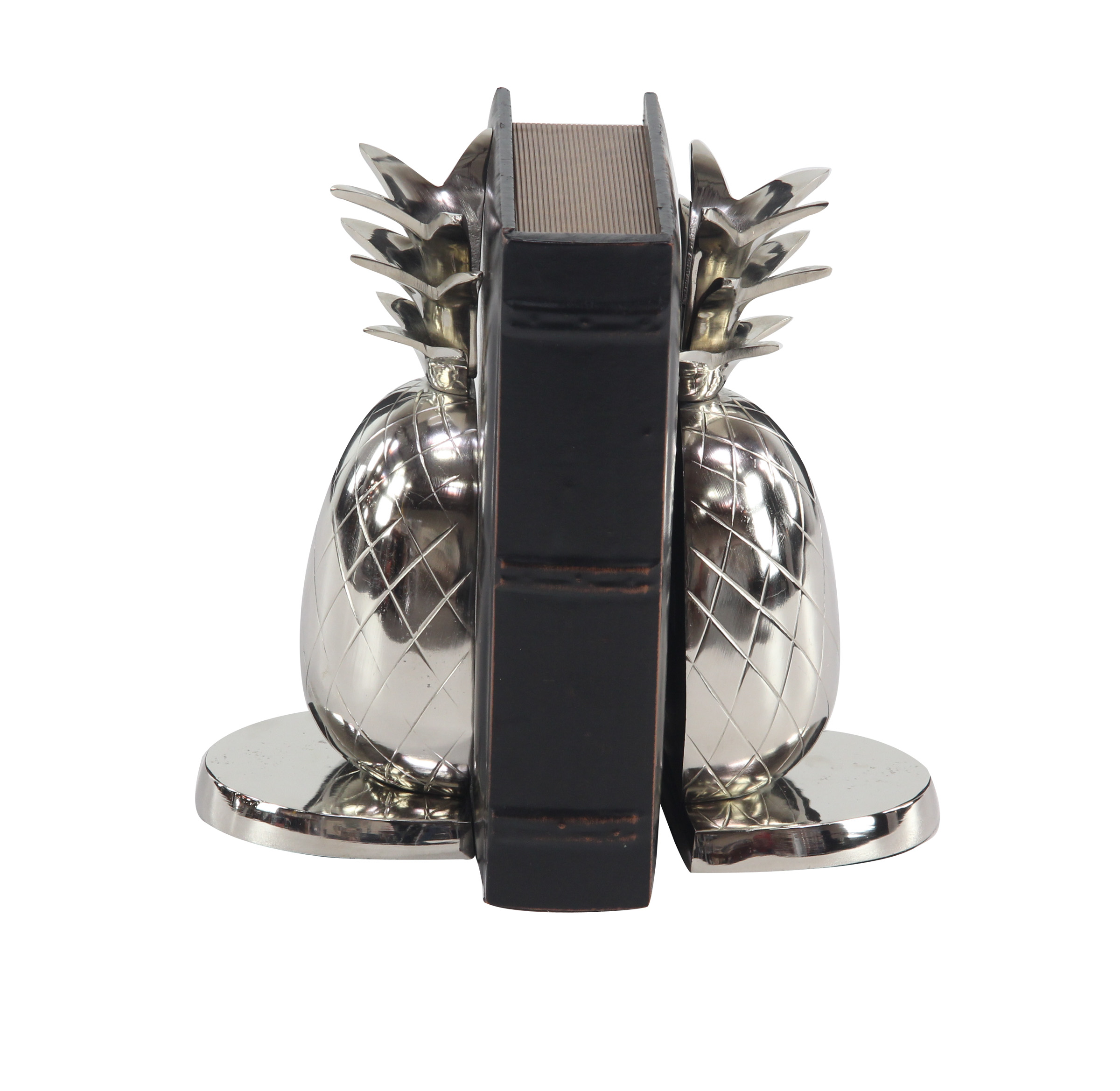 Decmode Pair Of Modern 10 Inch Silver Aluminum Pineapple Bookends