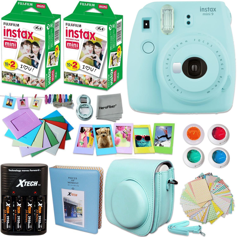 FujiFilm Instax Mini 9 Camera LIGHT BLUE + Accessories KIT for Fujifilm Instax Mini 9 Camera includes: 40 Instax Film + Custom Case + 4 AA Rechargeable Batteries + Assorted Frames + Photo Album + MORE