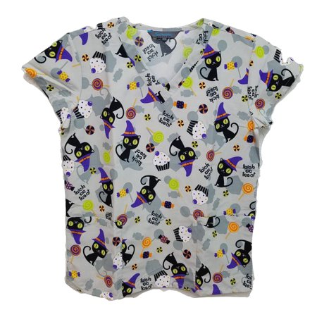 Halloween Print Scrub Top Medical Uniform V-Neck Nurses Top for $<!---->