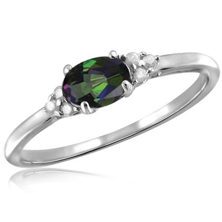 0.46 Carat T.G.W. Mystic Topaz Gemstone and White Diamond Accent (Mystic Topaz Stone)