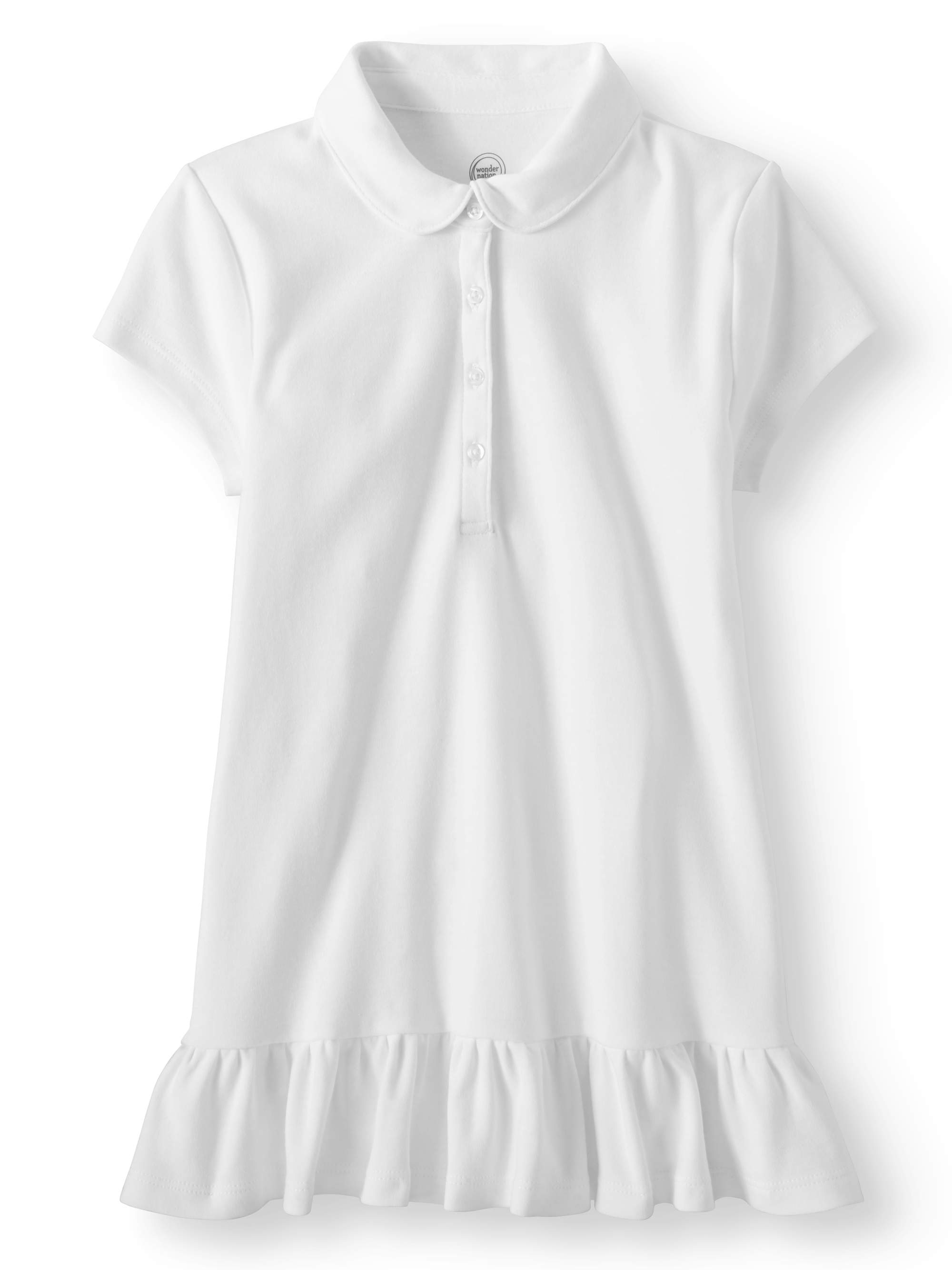 Girls School Uniform Extended Ruffle Hem Short Sleeve Polo