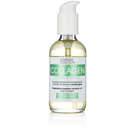 Advanced Clinicals Collagen Lifting Body Oil with Vitamin C, Vitamin E fo neck, decollete, upper arms, thighs.
