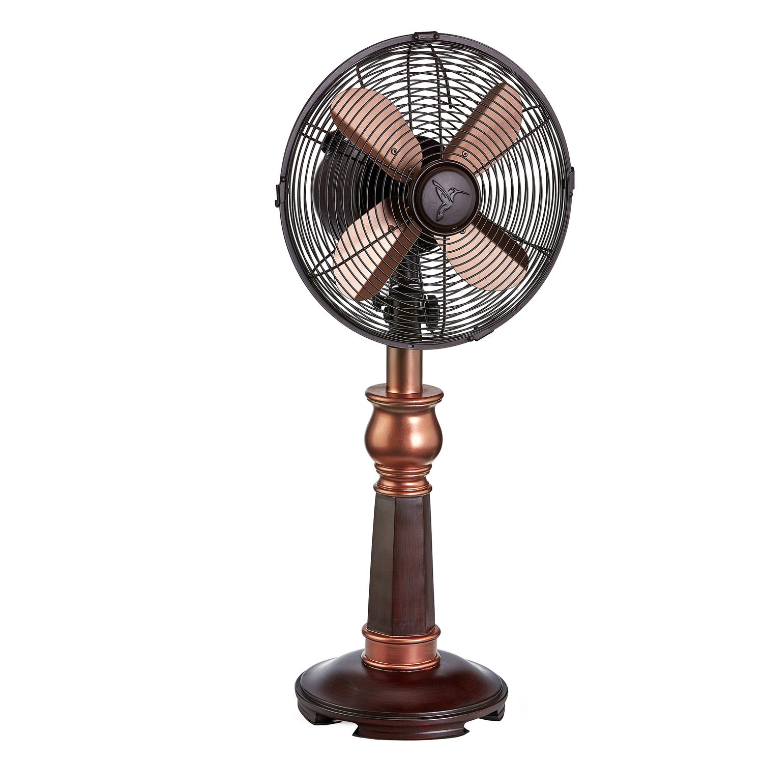 """25.5"""" Copper and Cherry Wood Oscillating Tabletop Fan"""