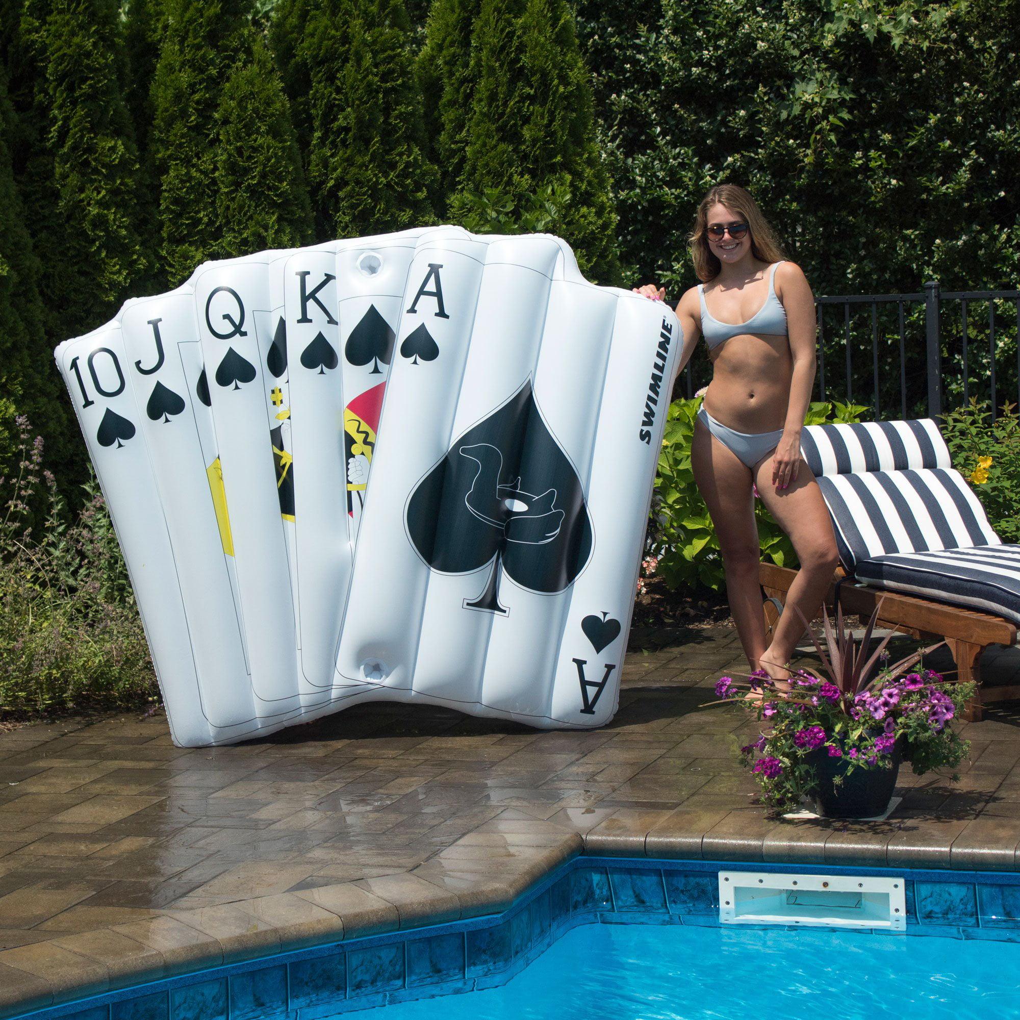Swimline Royal Flush Playing Mat Inflatable 2 Rider Swimming Pool Float (2 Pack) - image 5 de 6