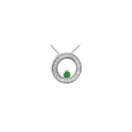 Emerald and Diamond Circle Pendant 14K White Gold 1.00 CT TGW - image 2 de 2