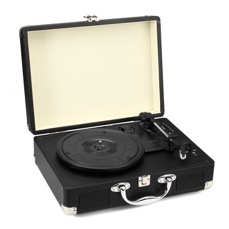 - Vintage Classic Suitcase Turntable Phonograph Black Multifunction Support bluetooth/USB/SD/FM Headphone Built-in Stereo Speaker Record Player CE RoHS Certification Home Audio