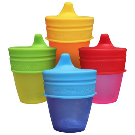 MrLifeHack Any Cup Spill-Proof Soft Spout Sippy Cup Lids - Silicone, 4 pack