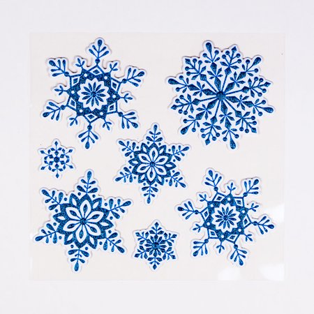 3-D Pop-Up Blue Christmas Snowflake Holiday Sticker Set / Room Decals (7-PACK) (Snowflake Decals)