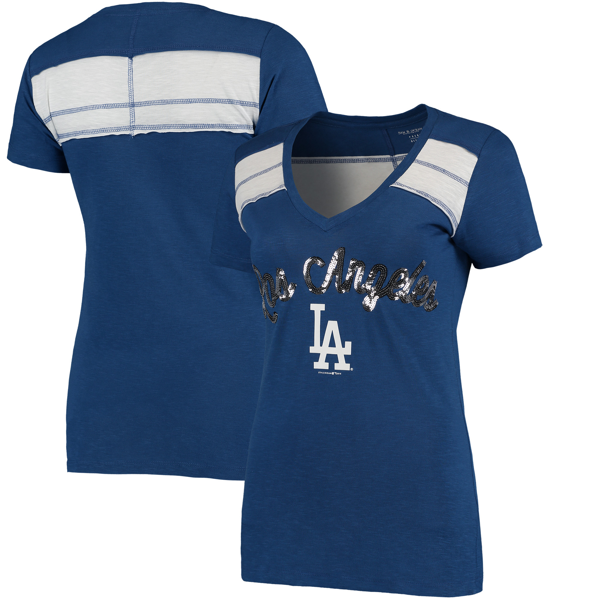 Los Angeles Dodgers 5th & Ocean by New Era Women's MLB Slub V-Neck With Contrast Inserts T-Shirt - Heathered Royal