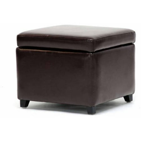 Full Leather Small Storage Cube Ottoman, Multiple Colors